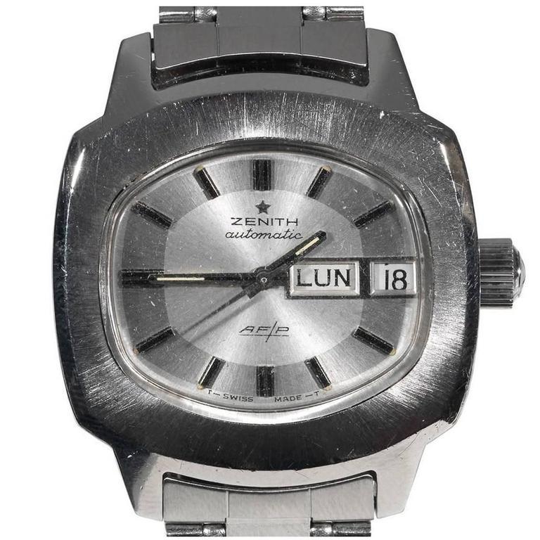Zenith Stainless Steel AF/P Automatic Bracelet Wristwatch