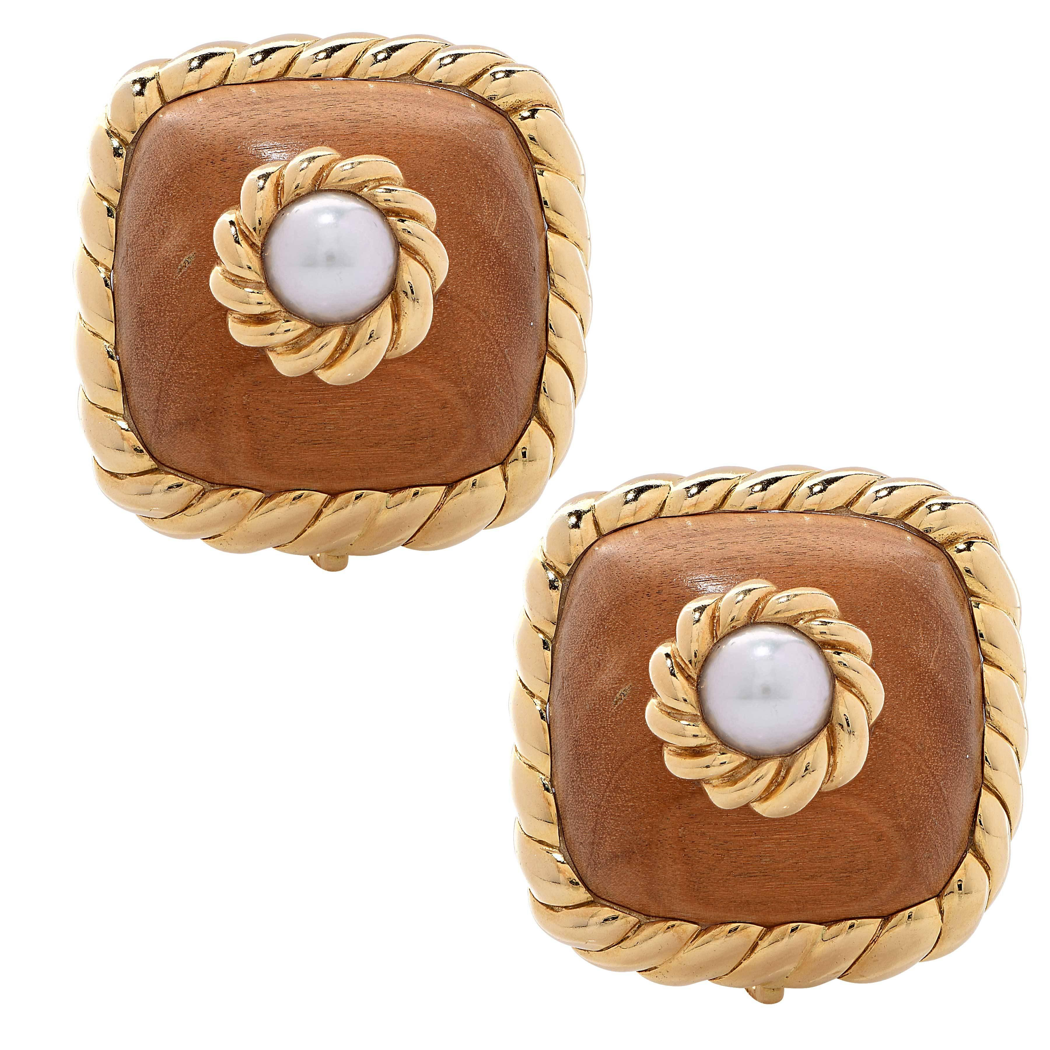 1980s Trianon Wood and Pearl Yellow Gold Earrings