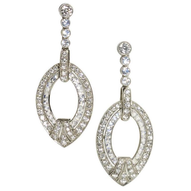 Moonstone Diamond Gold Drop Earrings