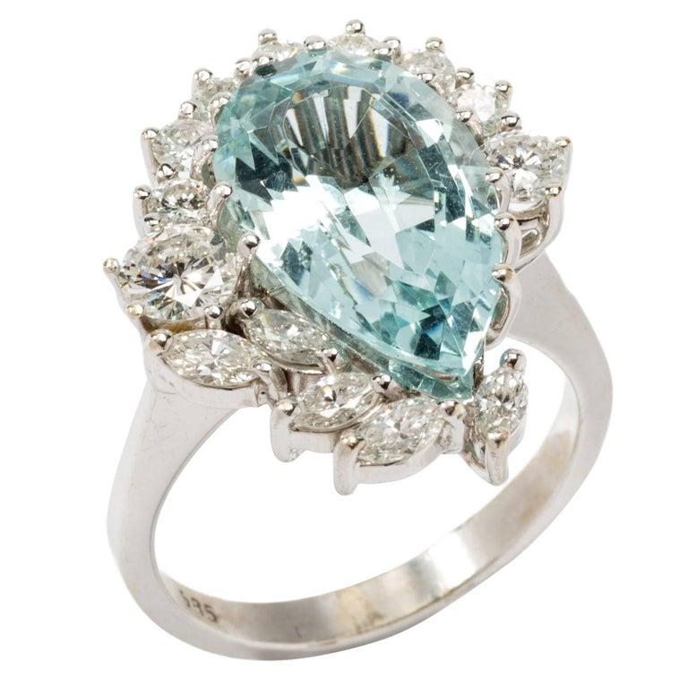 Tear Drop Aquamarine Ring with Diamonds