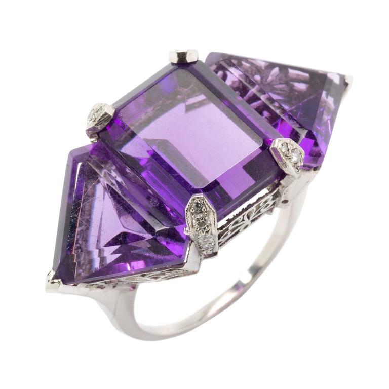 amethyst platinum ring at 1stdibs