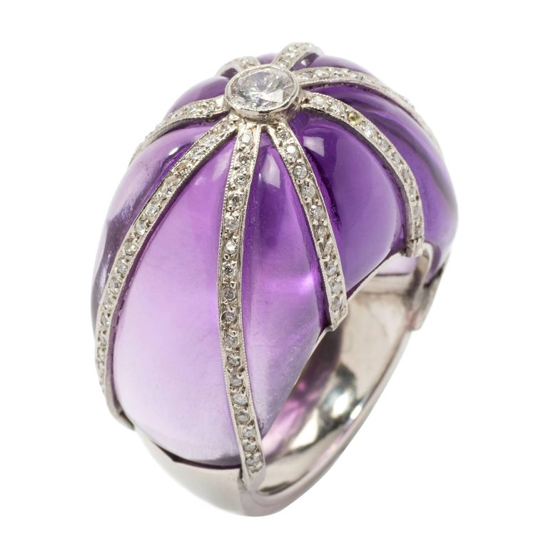 Amethyst Diamond Platinum Dome Ring For Sale