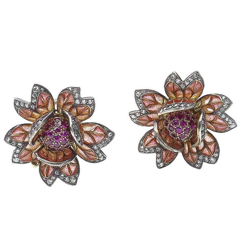 Enamel Ruby Diamond Silver Gold Flower Earrings For Sale