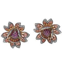Enamel Ruby Diamond Silver Gold Flower Earrings