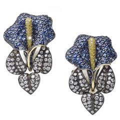 Sapphire Diamond Flower Earrings