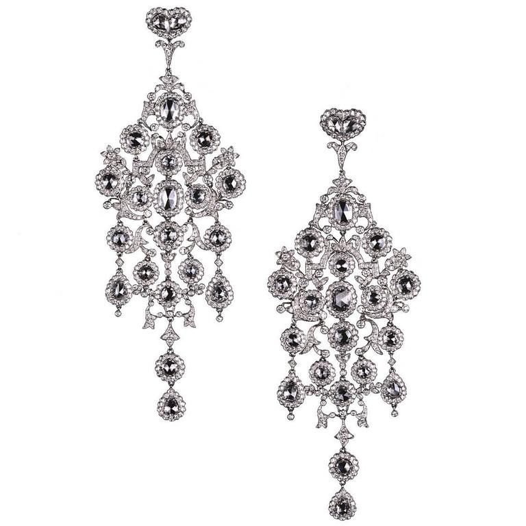 Large Diamond Platinum Chandelier Earrings