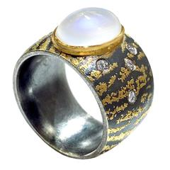 Atelier Zobel Violet Blue Flash White Moonstone Diamond Silver Gold Ring