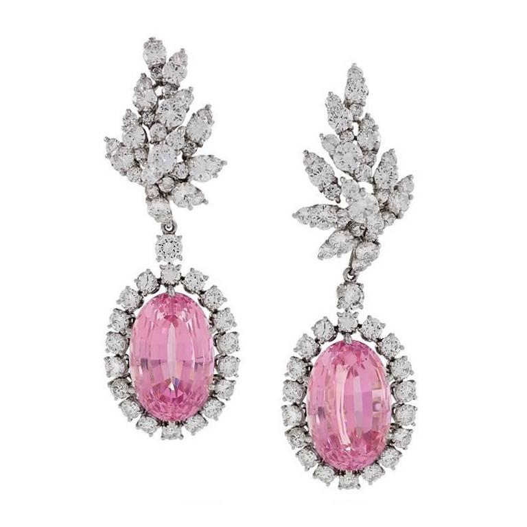 Verdura 1980s Kunzite Diamond Platinum Earrings
