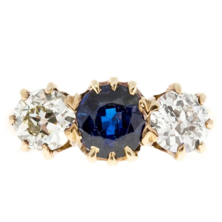 Three Stone Blue Sapphire Old European Cut Diamond Gold Ring