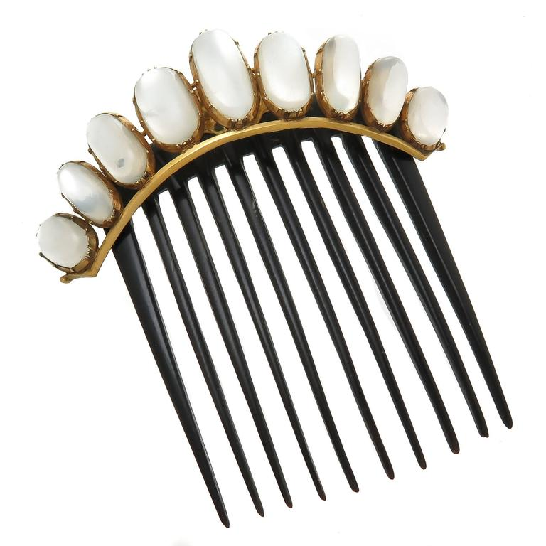 1890s Moonstone Gold Hair Comb 1