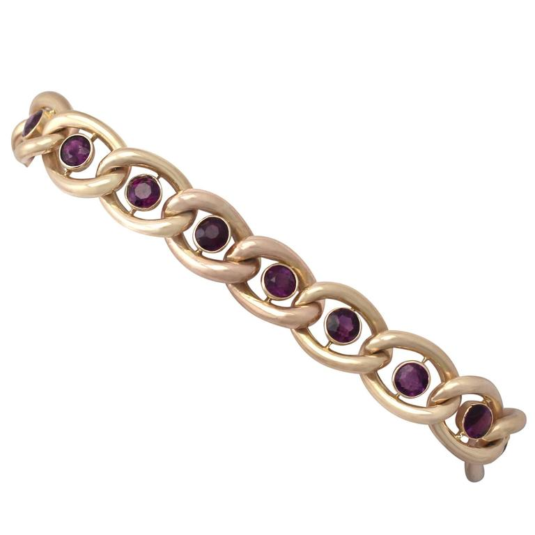 3.75Ct Amethyst & 15k Yellow Gold Bracelet with Heart Padlock Clasp - Antique