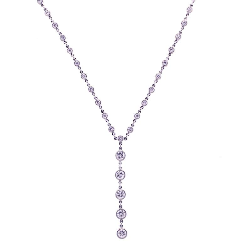 Tiffany & Co. Jazz T-Drop Diamond Platinum Necklace For Sale