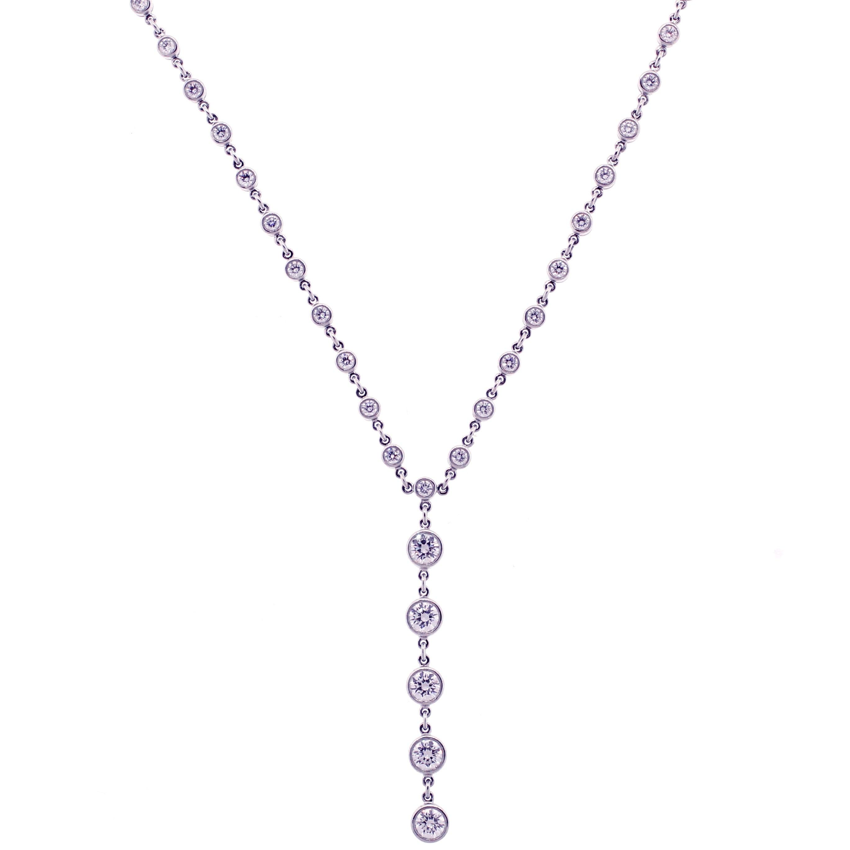 Tiffany & Co. Jazz T-Drop Diamond Platinum Necklace