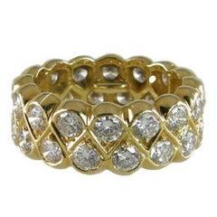 Diamond Double Row Band in 18 Karat Yellow Gold