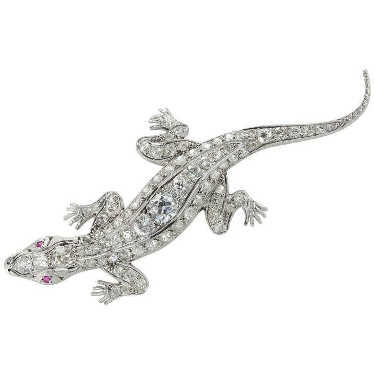 Edwardian Diamond Platinum Lizard Brooch