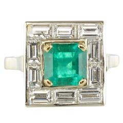 Art Deco Colombian Emerald And Baguette Diamond Ring