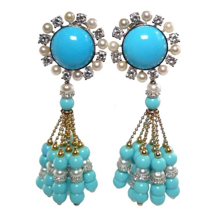Pearl Turquoise Diamond Gold Tassel Ear Clip Pendant Earrings