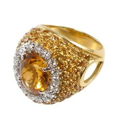 Antique-Cut Yellow Citrine and Yellow Pave Citrine Diamond Gold Ring