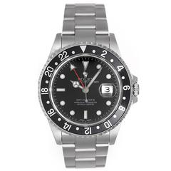 Rolex Stainless Steel Black Dial Bezel GMT-Master II Automatic Wristwatch