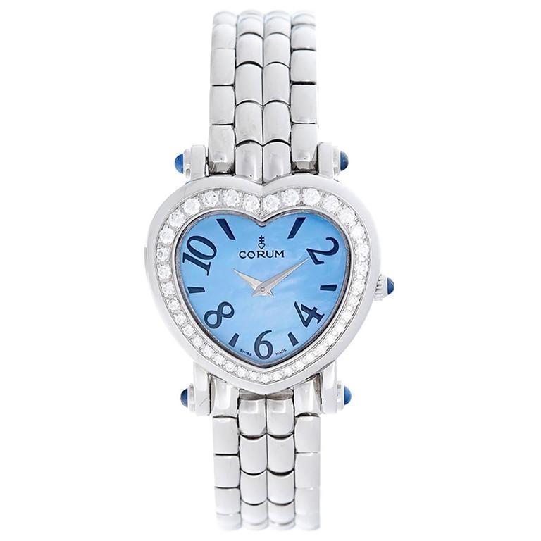 d0391fd338889 Corum Lady's Stainless Steel Heart Shaped Diamond Quartz Wristwatch For Sale