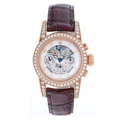 Girard-Perregaux Lady's Rose Gold Diamond Skeleton Chronograph Wristwatch