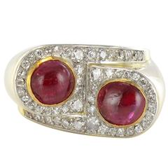1940s French Ruby Cabochon Diamond Gold Platinum Tank Ring