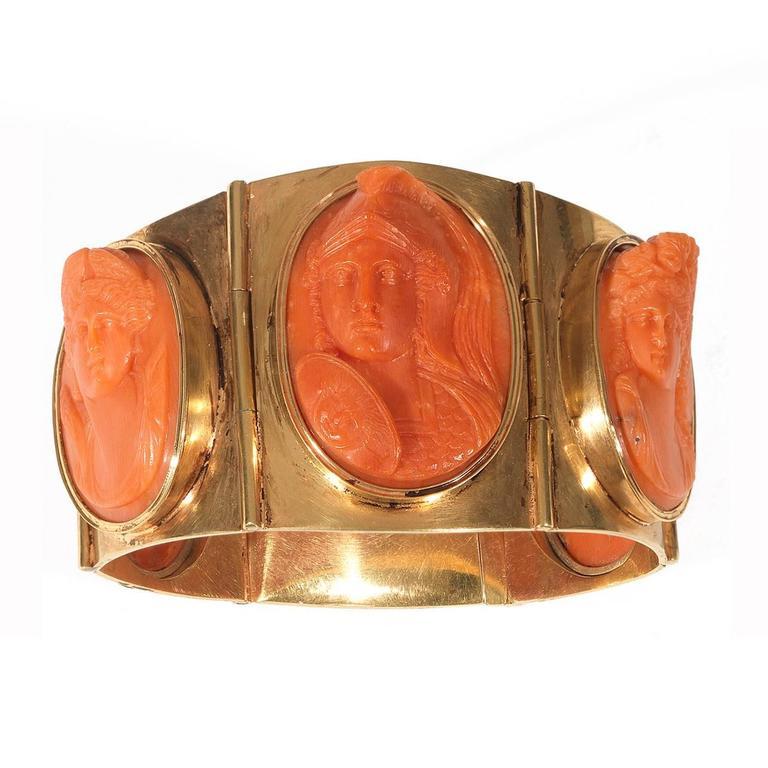 Antique Coral Cameo Silver Gilt Bracelet