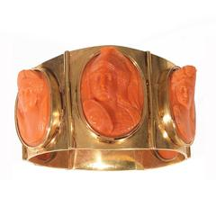 Antique Coral Cameo Silver Gilt Bracelet