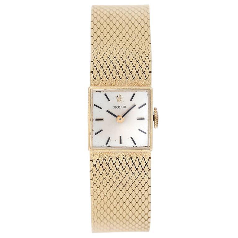 Rolex Lady's Yellow Gold Square Mesh Bracelet Wristwatch  For Sale