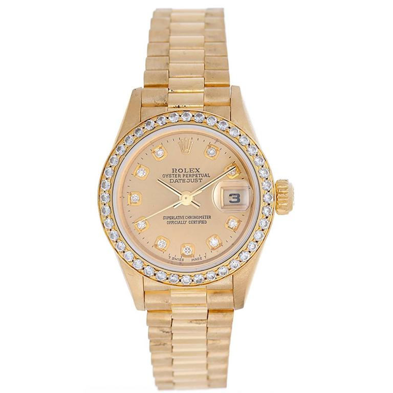 Rolex Lady's Yellow Gold Diamond President Automatic Wristwatch Ref 79178