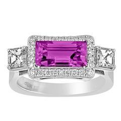 Certified No Heat 2.21 Carat Purplish Violet Sapphire Diamond Gold Ring
