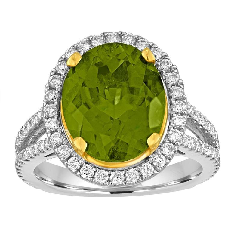 5.07 Carats Oval Peridot Diamond Gold Halo Ring