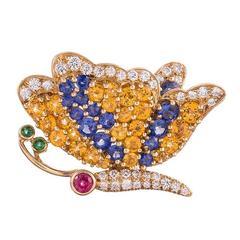 Jean Vitau Gemstone Gold Butterfly Brooch