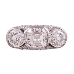 4.85 Carats Total Asscher and Round Brilliant Diamond Platinum Ring