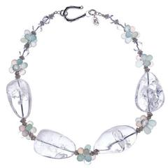 Large Crystal Quartz Nuggets Pink and Aqua Chalcedony Sterling Necklace