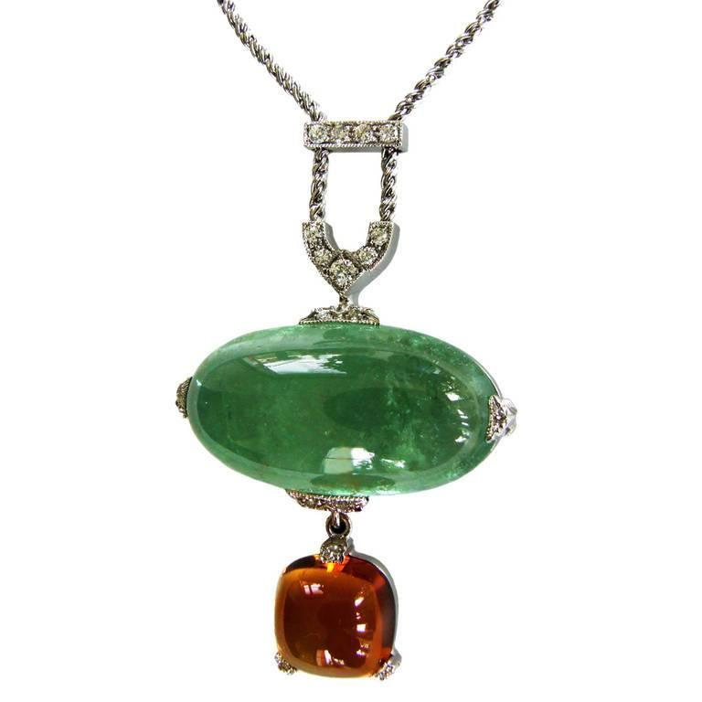 Dalben Aquamarine Citrine Diamond Pendant Necklace