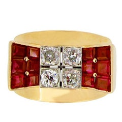 Mauboussin Natural Unenhanced Ruby and Diamond Cocktail Ring, French, circa 1940