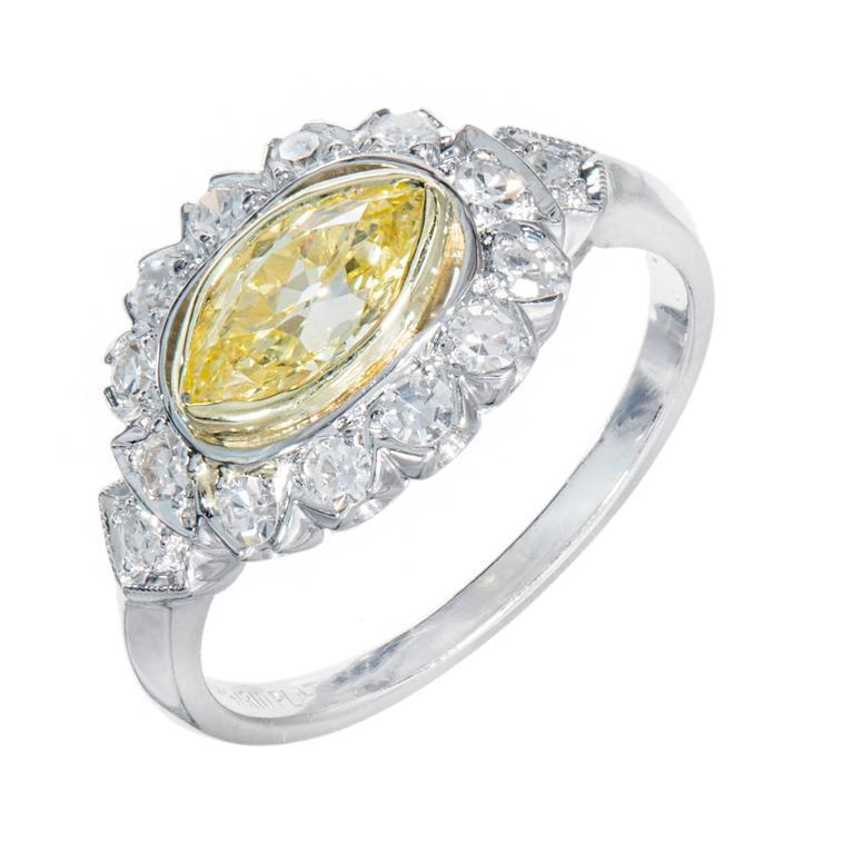 .65 Carat Fancy Intense Yellow White Diamond Platinum Engagement Ring