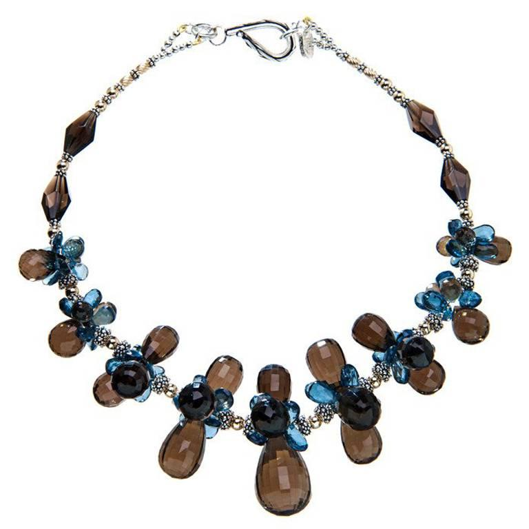 Deborah Liebman Smoky Quartz Blue Topaz Yellow Gold Sterling Silver Necklace
