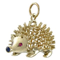 Ruby Sapphire Gold Porcupine Charm