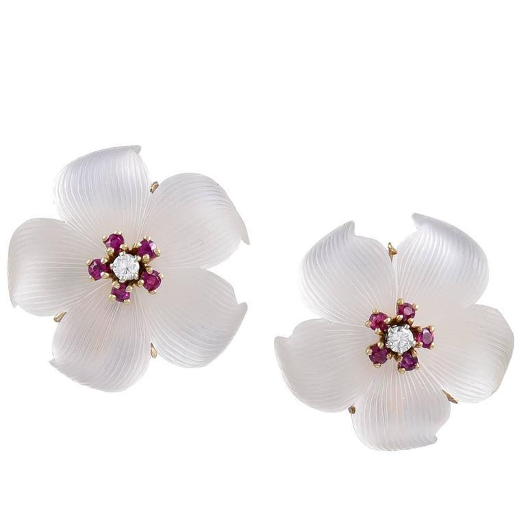 Tiffany & Co. Crystal Ruby Diamond Gold Ear Clips