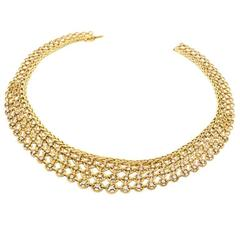 Sterlé Paris Mid-20th Century Diamond Gold Bib Necklace
