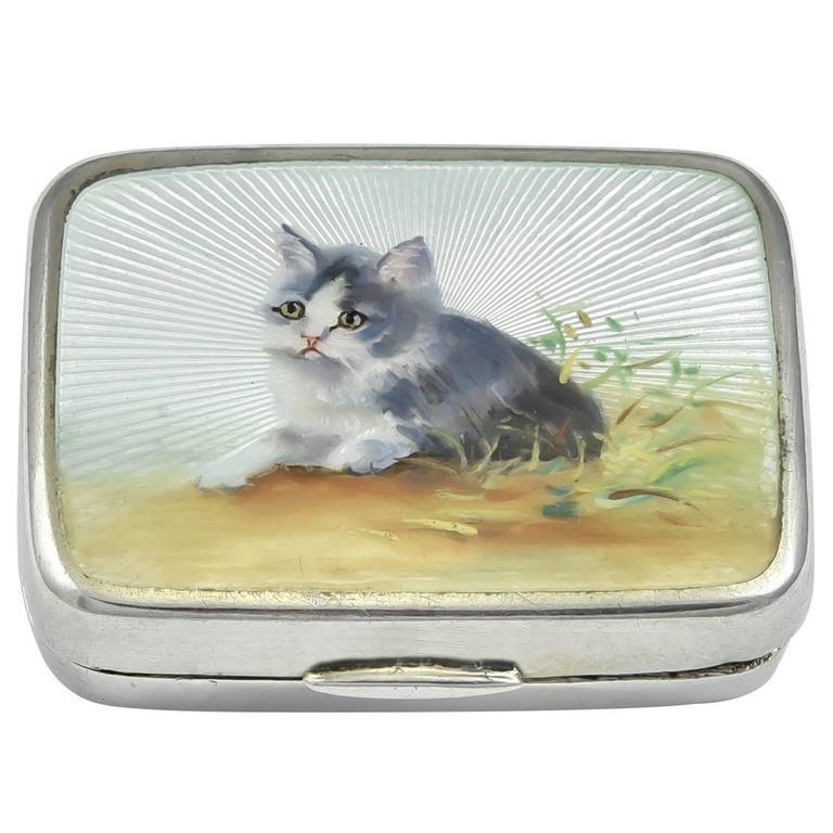 Antique Kitten Enamel Sterling Box For Sale