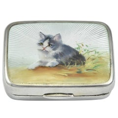 Antique Kitten Enamel Sterling Box