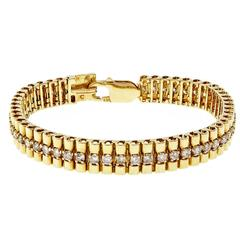 Diamond Gold Cylinder Link Bracelet
