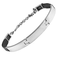 Barry Kieselstein-Cord Sterling and Leather Dog Collar