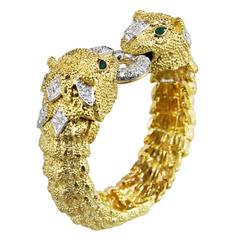 Diamond Gold Panther Bracelet with Interchangeable Emerald Bead Section