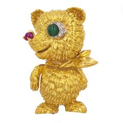 Cartier Gold Bear with Diamond and Rubies Brooch