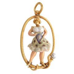1915 Enamel Pearl Gold Risque Erotica Pendant