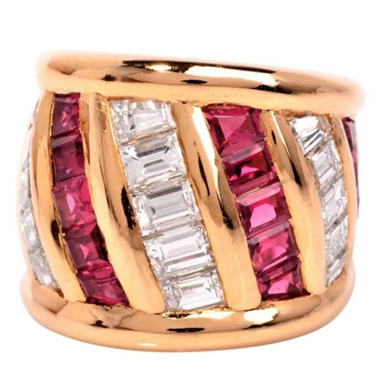 1970s French Verney Ruby Diamond Gold Ring
